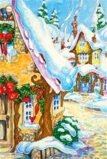 Схема для вышивки бисером на атласе Рождественская деревушка Миледи СЛ-3059