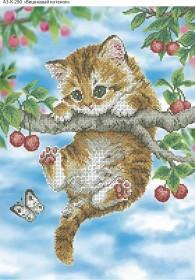 Схема для вышивки бисером на габардине Вишневый котенок