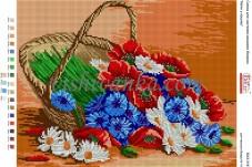 Рисунок на габардине для вышивки бисером Квіти у кошику Вишиванка А3-316