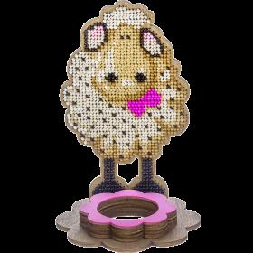Набор для вышивки по дереву Подставка под пасхальное яйцо Овечка с розовым бантиком
