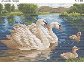 Схема для вышивки бисером на габардине Семейство лебедей