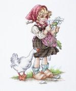Набор для вышивки крестом Девочка с гусем