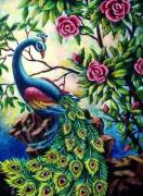 Набор для выкладки алмазной мозаикой Павлин в цветах