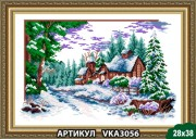 Рисунок на ткани для вышивки бисером Зимняя деревня