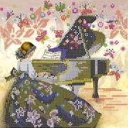 Схема вышивки бисером на холсте Визит музы