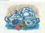 Схема для вышивки бисером на габардине Посуда гжель