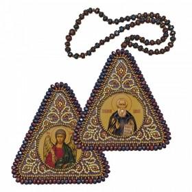 Набор для вышивания бисером двухсторонней иконы оберега Св. Прп. Сергий Радонежский и Ангел Хранитель