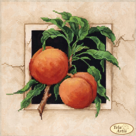 Схема для вышивки бисером на атласе Спелые персики, , 75.00грн., ТА-379, Tela Artis (Тэла Артис), Пейзажи и натюрморты