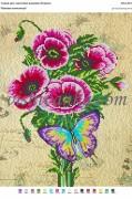 Рисунок на габардине для вышивки бисером Макова композиція