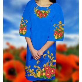 Заготовка женского платья на синем габардине Biser-Art Bis6050 - 470.00грн.