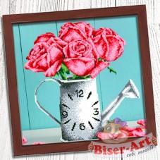 Схема для вышивки бисером (нитками) на габардине Годинник Ваза з трояндами Biser-Art 37412
