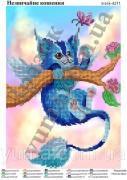 Схема вышивки бисером на атласе Необычный котенок