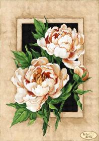 Схема для вышивки бисером на атласе Винтажные пионы, , 95.00грн., ТА-381, Tela Artis (Тэла Артис), Цветы