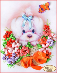 Набор для вышивки лентами Щенок в цветах, , 170.00грн., ЛН-004, Tela Artis (Тэла Артис), Новый год