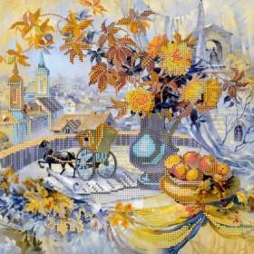 Схема для вышивки бисером на холсте Осенние строки