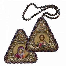 Набор для вышивания бисером двухсторонней иконы оберега Христос Спаситель и Богородица Казанская