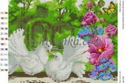 Рисунок на габардине для вышивки бисером Голуби в саду