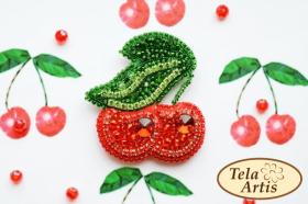 Набор для вышивки броши велюре Вишенки Tela Artis (Тэла Артис) Б-005ТА - 230.00грн.