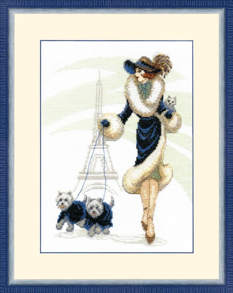 Вышивка прогулка в париже