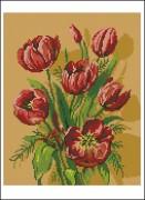 Схема вышивки бисером на габардине Тюльпаны