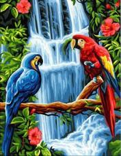 Набор для выкладки алмазной мозаикой Попугаи у водопада Алмазная мозаика DM-332