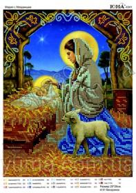 Схема вышивки бисером на атласе Мария с младенцем