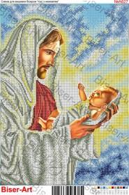 Схема вышивки бисером на габардине Ісус з немовлям