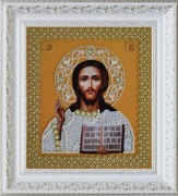 Набор для вышивки бисером Икона Христа Спасителя. Венчальная пара (золото)