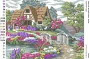 Рисунок на габардине для вышивки бисером Будиночок в саду