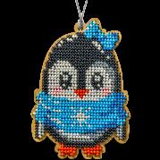 Набор для вышивки бисером по дереву Пингвин в голубом