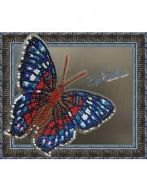 Набор для вышивки бисером на прозрачной основе Бабочка Красный Павлин, , 160.00грн., BGP-028, Вдохновение, Брошки для вышивки бисером