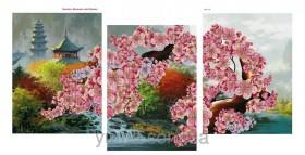 Схема вышивки бисером на атласе Весеннее чудо Японии (Триптих), , 180.00грн., ЮМА-368, Юма, Картины из нескольких частей