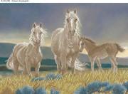 Схема для вышивки бисером на габардине Семья лошадей