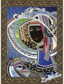 Схема для вышивки бисером на атласе Девушка в шляпе-3 (по картине Д. Беридзе)