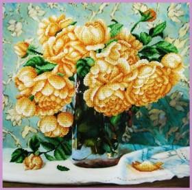 Набор для вышивки бисером Натюрморт с розами, , 640.00грн., Р-349, Картины бисером, Цветы