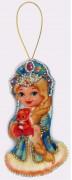 Набор для изготовления игрушки из фетра для вышивки бисером Снегурочка