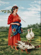 Набор для вышивки крестом Девочка с гусями. Маковский