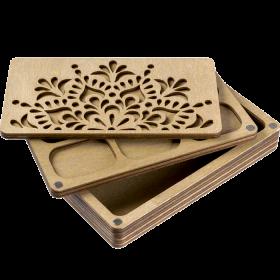 Органайзер для бисера многоярусный с деревянной крышкой FLZB-080
