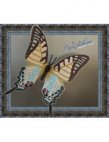 Набор для вышивки бисером на прозрачной основе Бабочка Парусник Протесилай, , 160.00грн., BGP-024, Вдохновение, Брошки для вышивки бисером