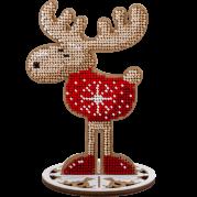 Набор для вышивки бисером по дереву Олень в красном