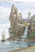 Схема для вышивки бисером на габардине Белый замок над водопадом