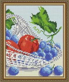 Набор для выкладки алмазной техникой В хрустале. Виноград с яблоками диптих 2, , 280.00грн., АТ5550, Art Solo, Картины из нескольких частей