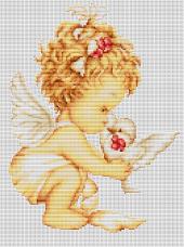 Набор для вышивки крестом Ангелочек с голубями Luca-S В369