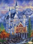 Схема для вышивки бисером на атласе Замок Нойшванштайн осенью