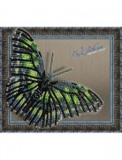 Набор для вышивки бисером на прозрачной основе Бабочка Малахитовая
