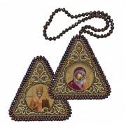 Набор для вышивания бисером двухсторонней иконы оберега Богородица Казанская и Николай Чудотворец