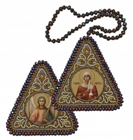 Набор для вышивания бисером двухсторонней иконы оберега Св. Вмц. Анастасия Узорешительница и Ангел Хранитель