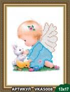 Рисунок на ткани для вышивки бисером Ангелочек со зверушками
