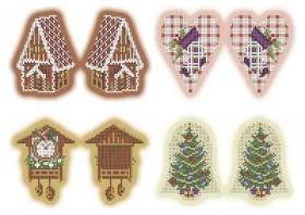Схема для вышивки бисером на габардине Новогодние игрушки Рождество