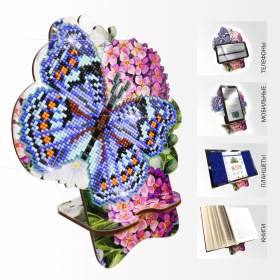 Подставка под телефон с алмазной мозаикой Бабочка и Гортензия